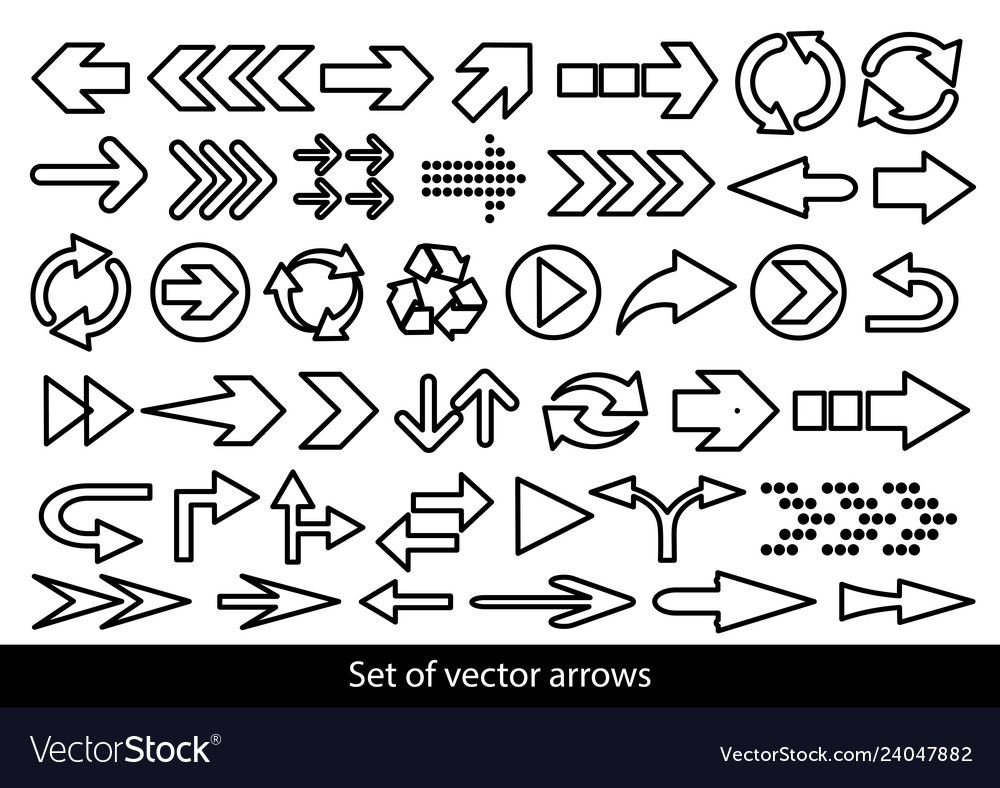 Set of black arrows on a white background