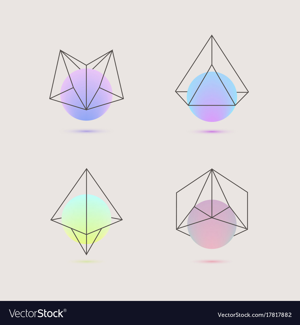 set of holographic geometric logos royalty free vector image