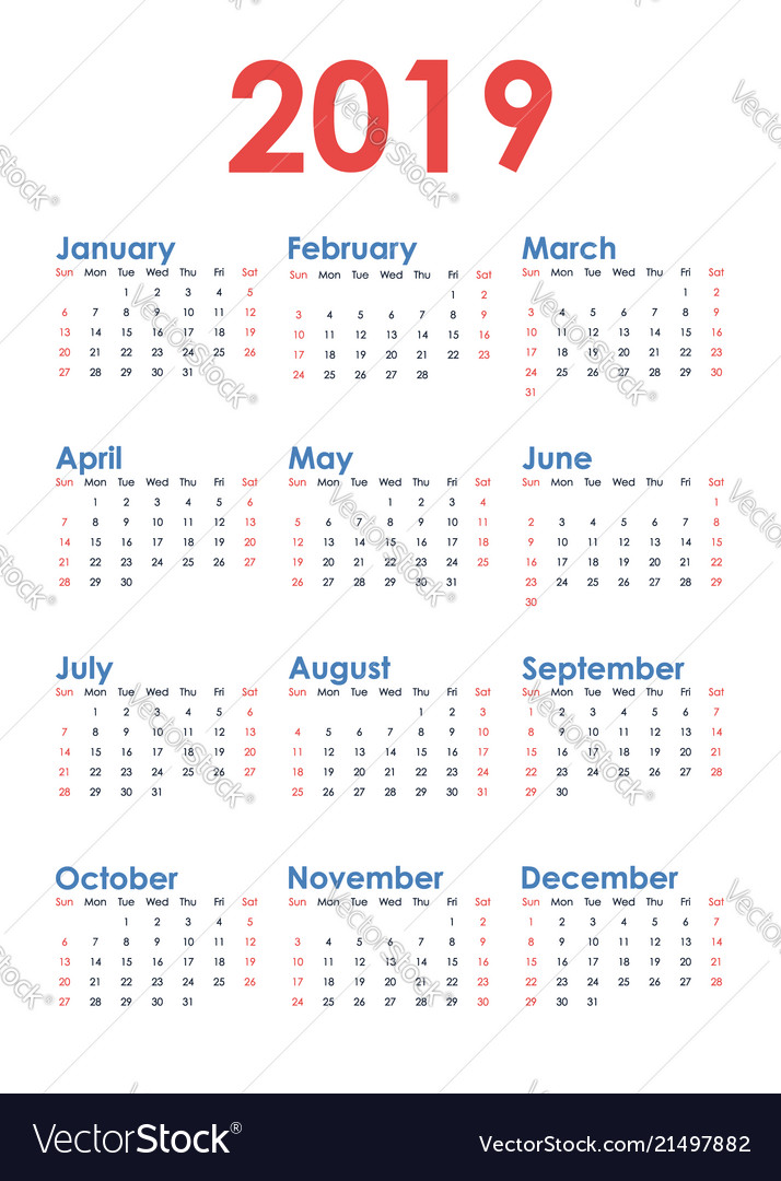 Simple vertical calendar for 2019 year on white