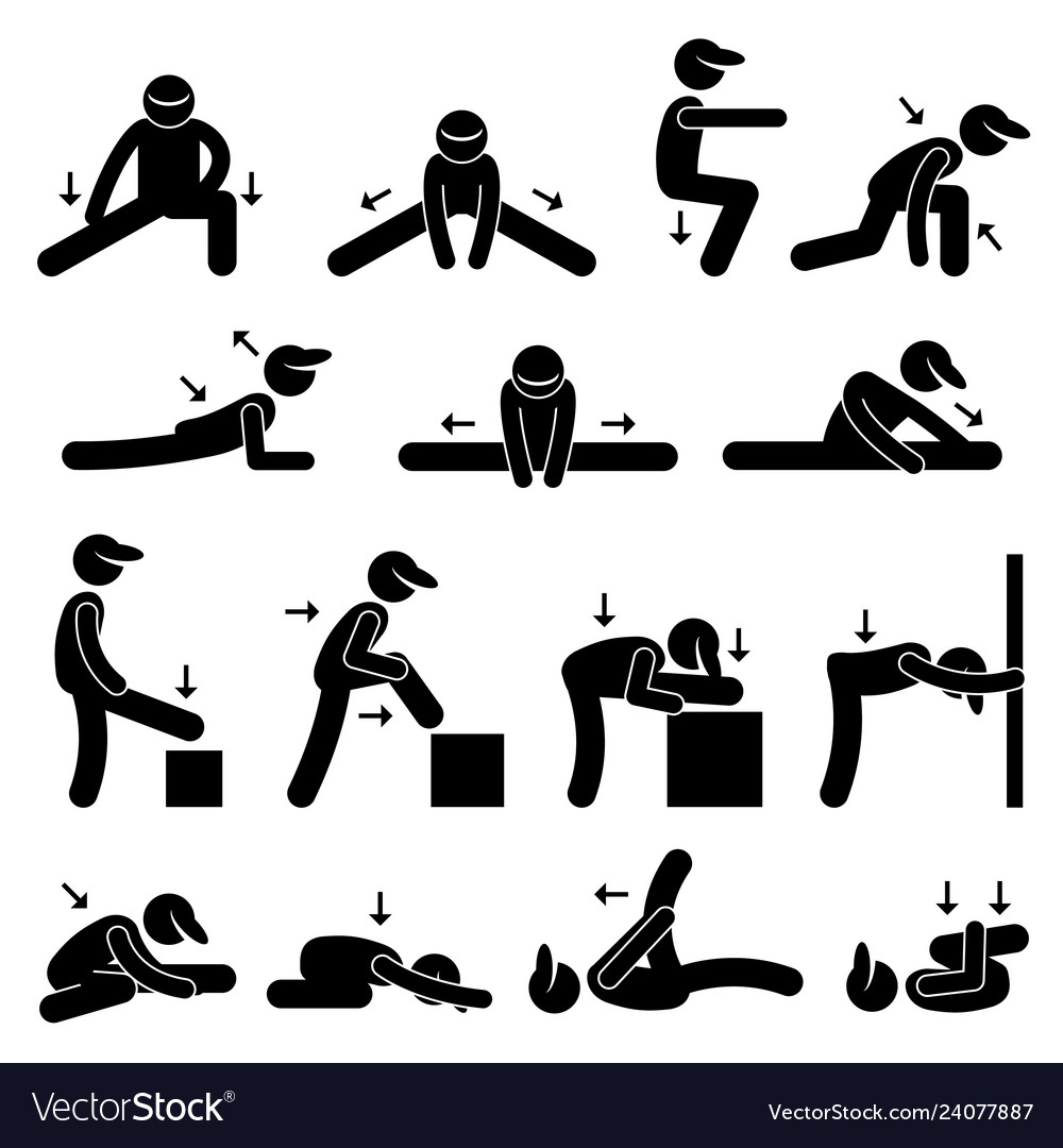 Body stretching exercise stick figure pictograph