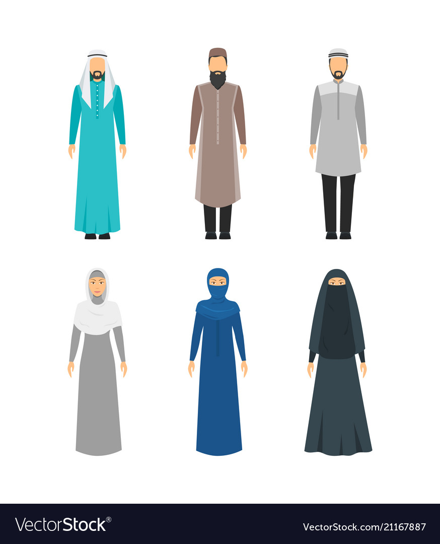Cartoon color middle east man and woman religious
