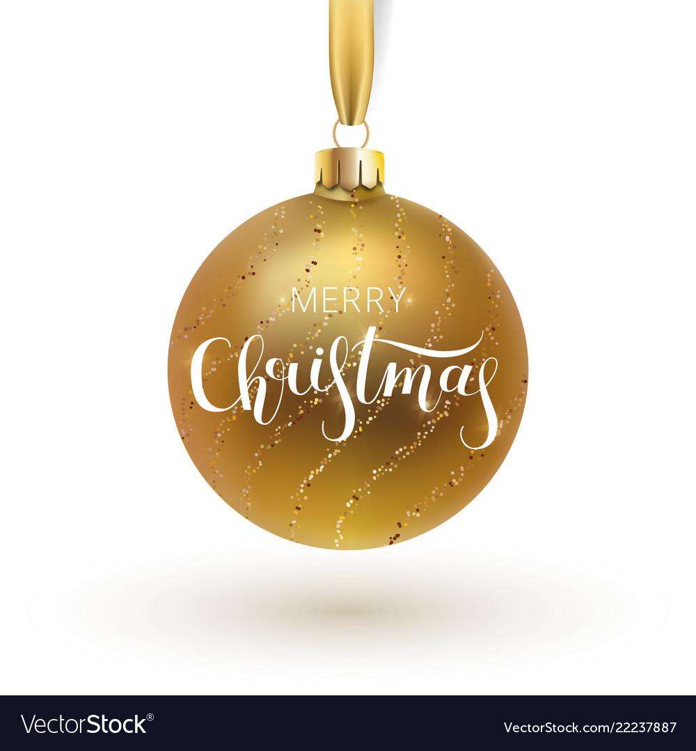 Christmas greeting card gold christmas ball with Vector Image