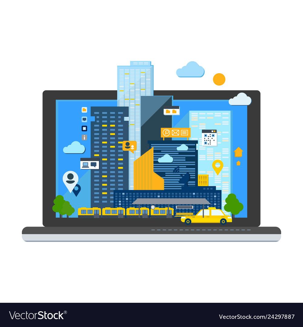 City landscape in laptop