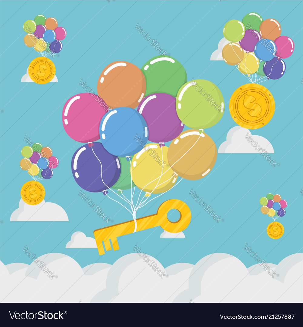 Concept of business balloon and key on blue sky