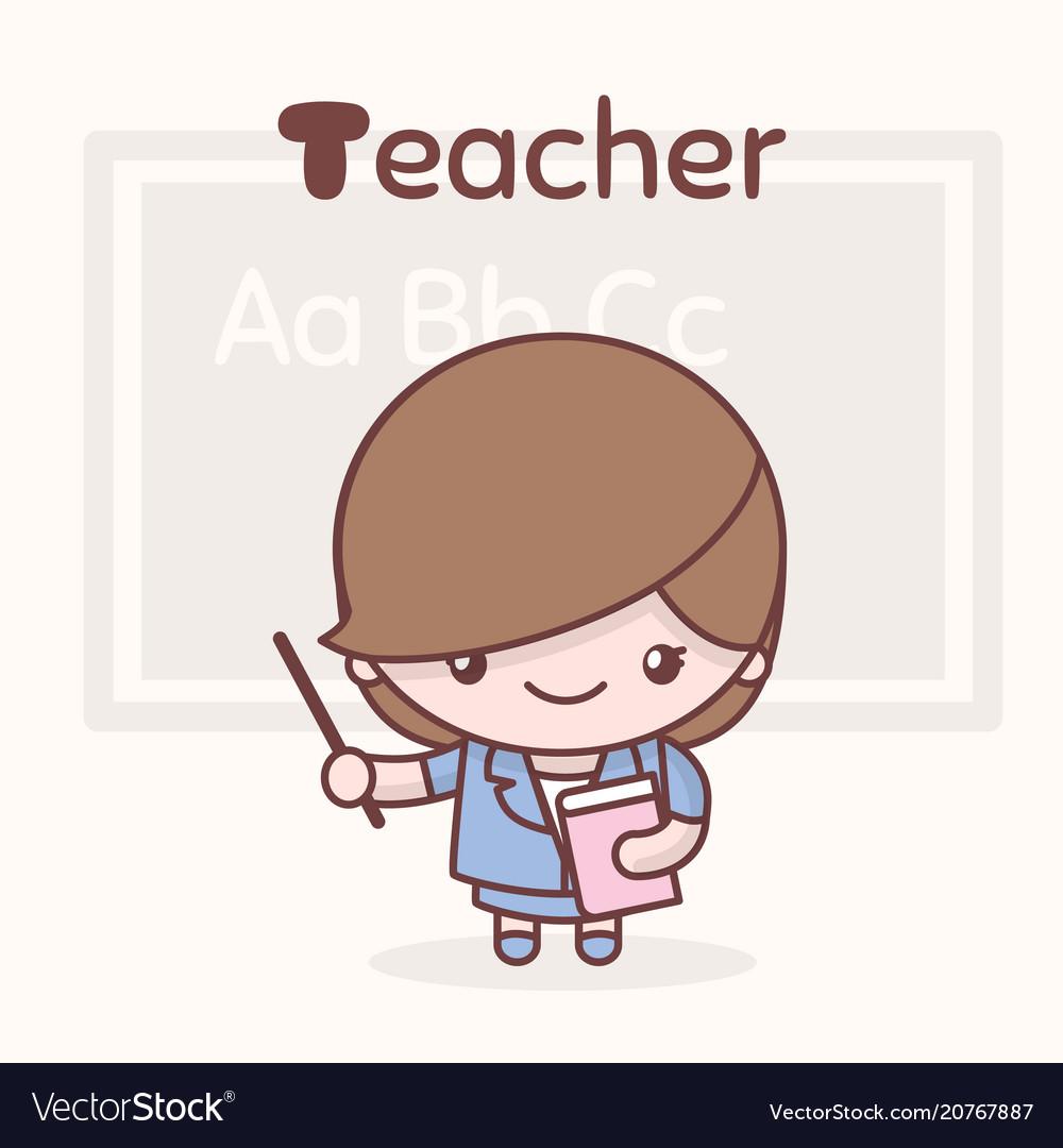 Cute kawaii characters alphabet professions