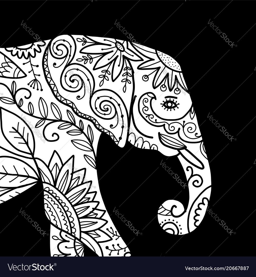 Elephant ornate sketch for your design