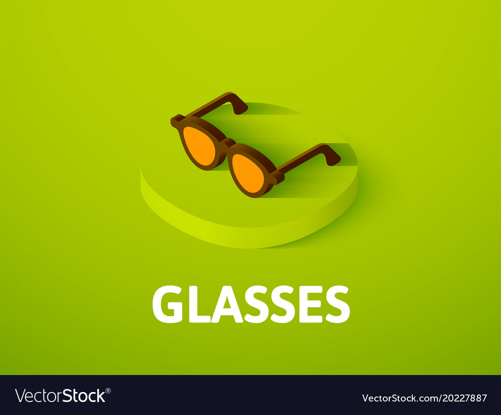 Glasses isometric icon isolated on color