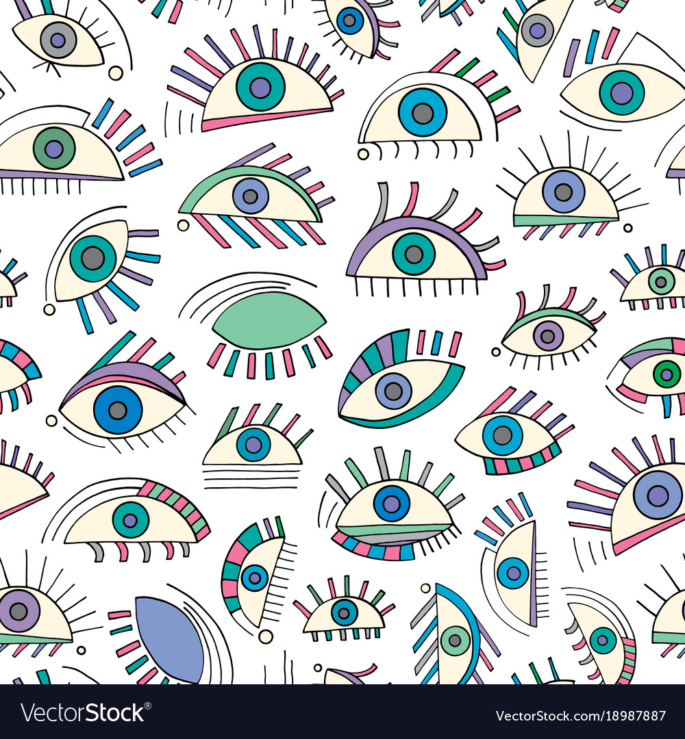 Hand drawn abstract eyes pattern sight seamless vector image