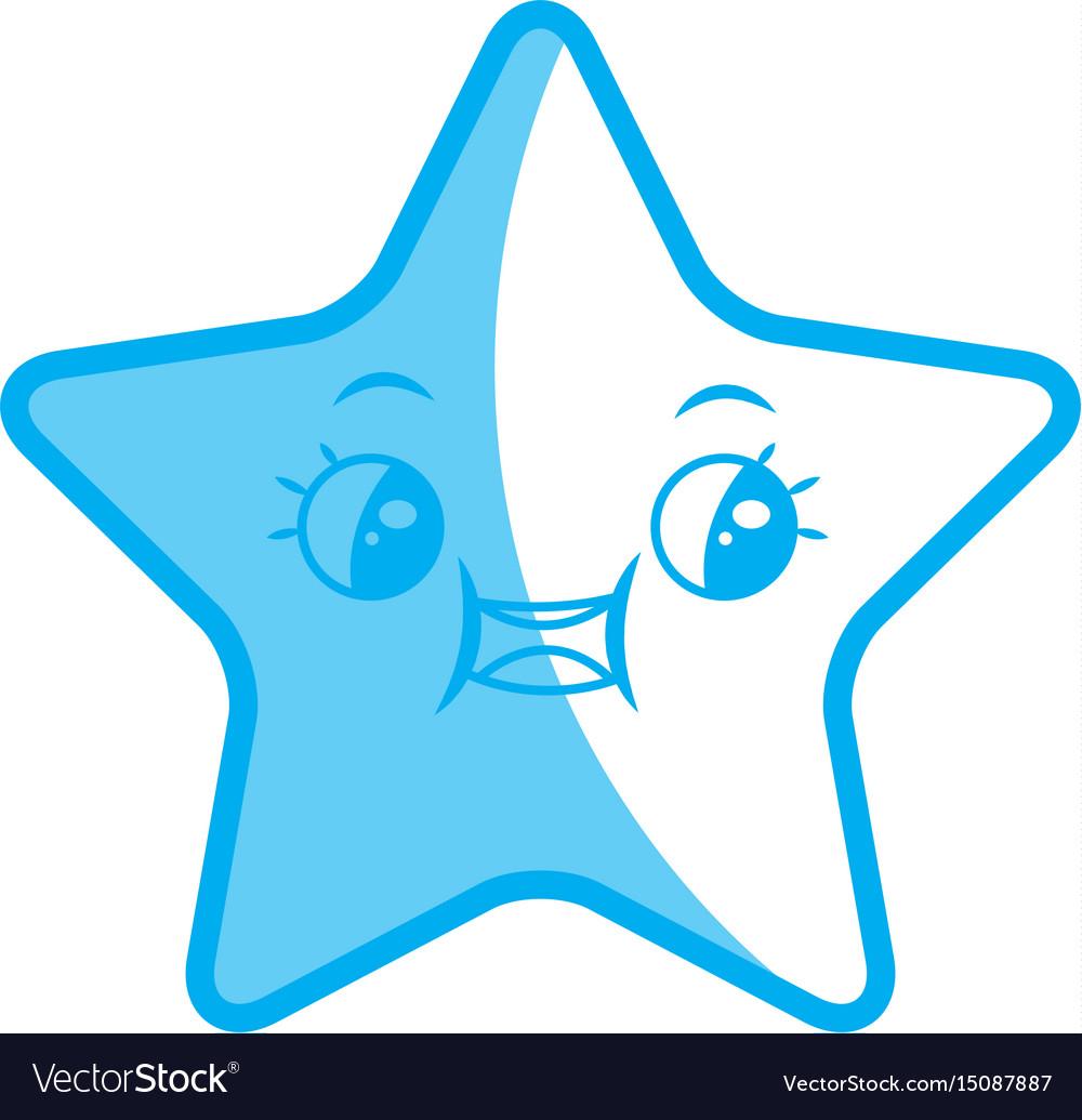 Kawaii cute star caricature facial expression