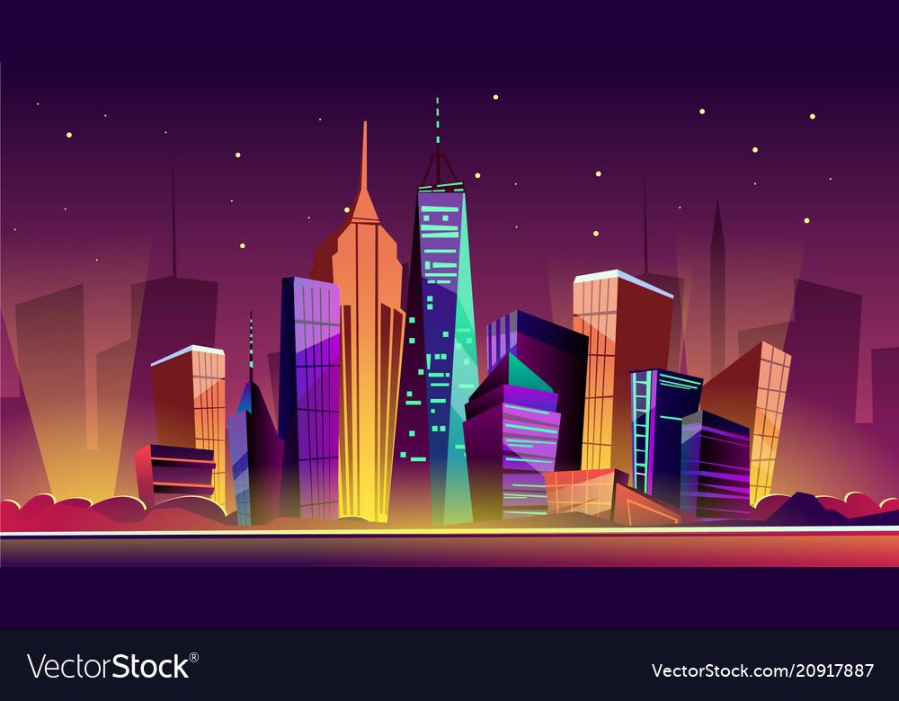 New york night cityscape cartoon vector image