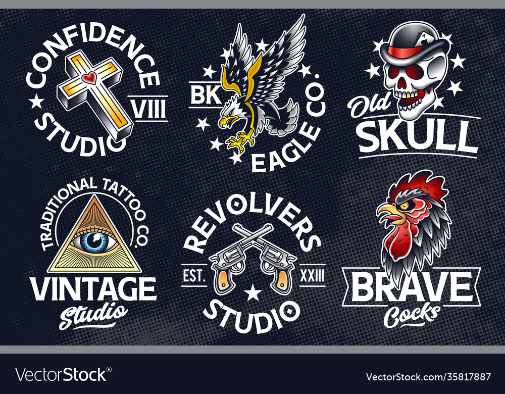 Old school tattoo emblems vector
