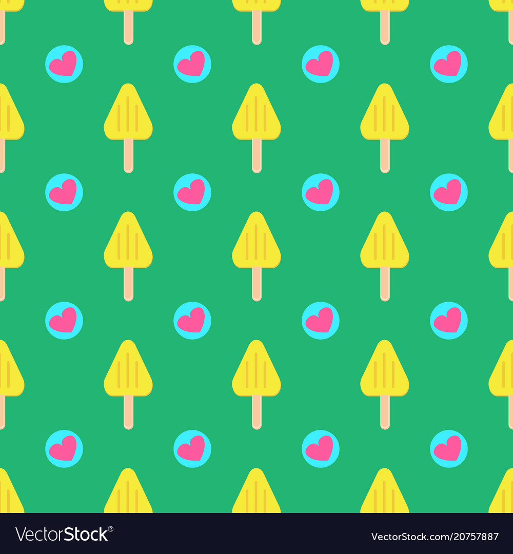 Summer seamless ice cream pattern with hearts on