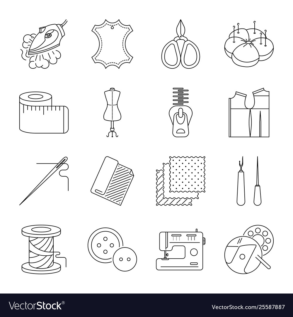 Thin lines sewing icons set