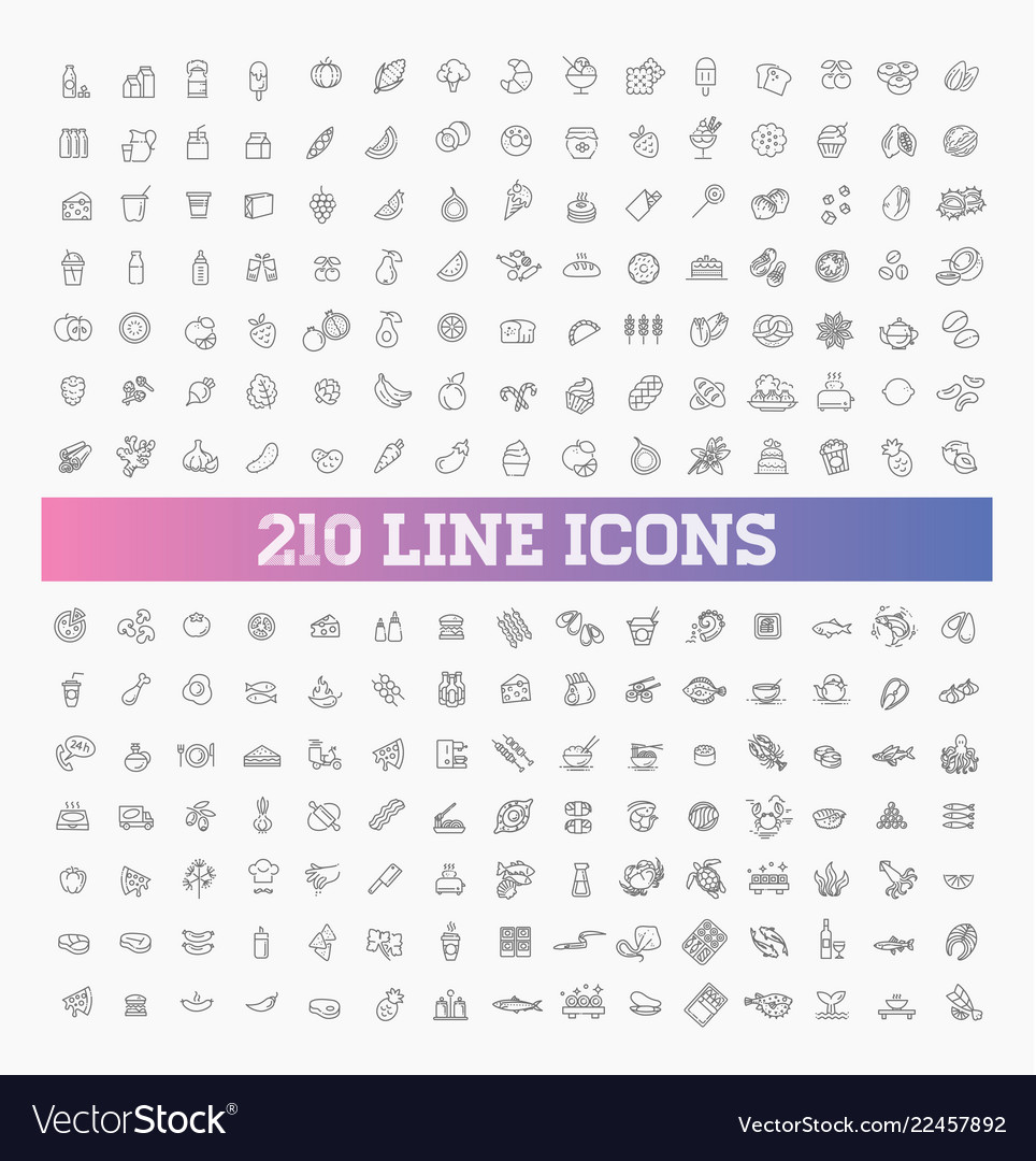 210 food and drink thin icon set