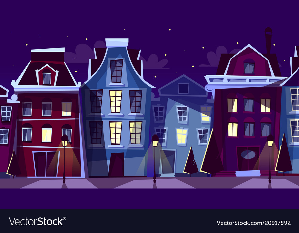 Amsterdam night cityscape cartoon