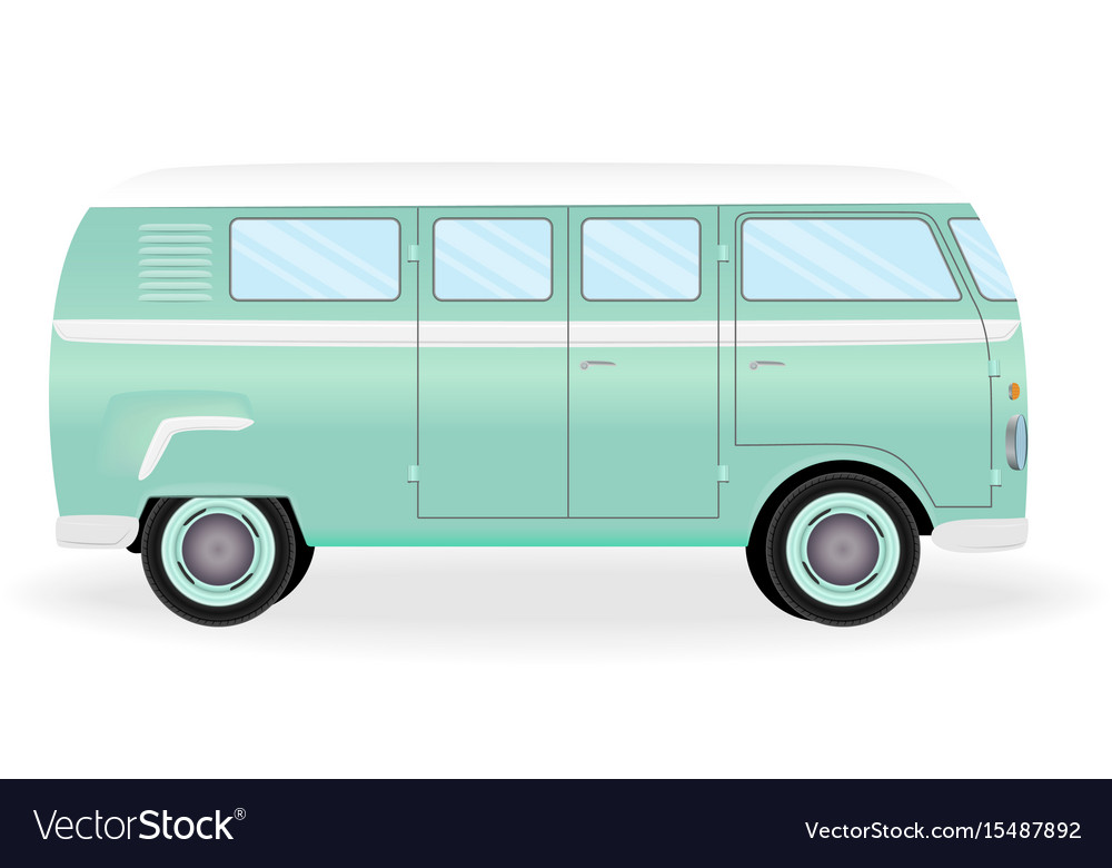 Colorful retro travel bus cartoon hippie van