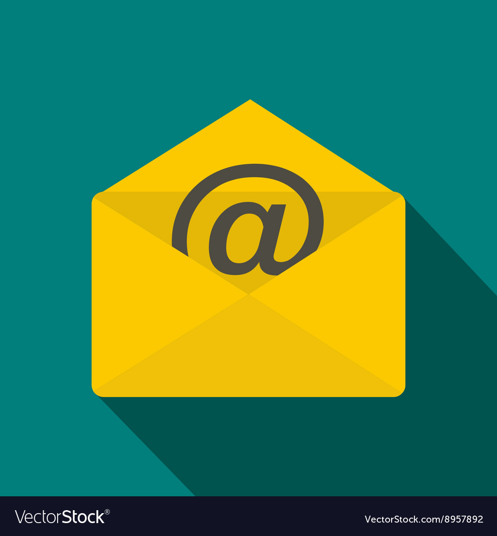 Envelope with e mail sign icon flat style