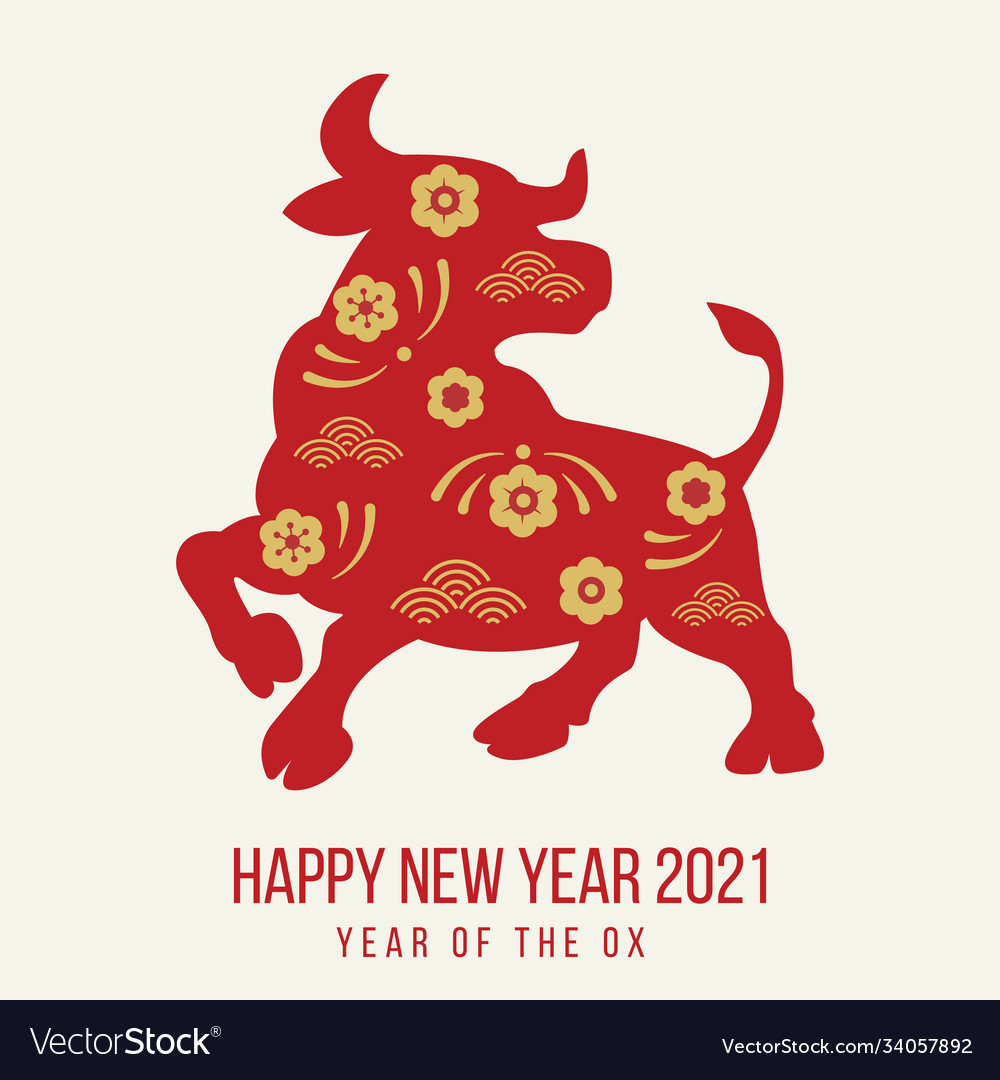 Happy new year 2021 festive banner with ox red