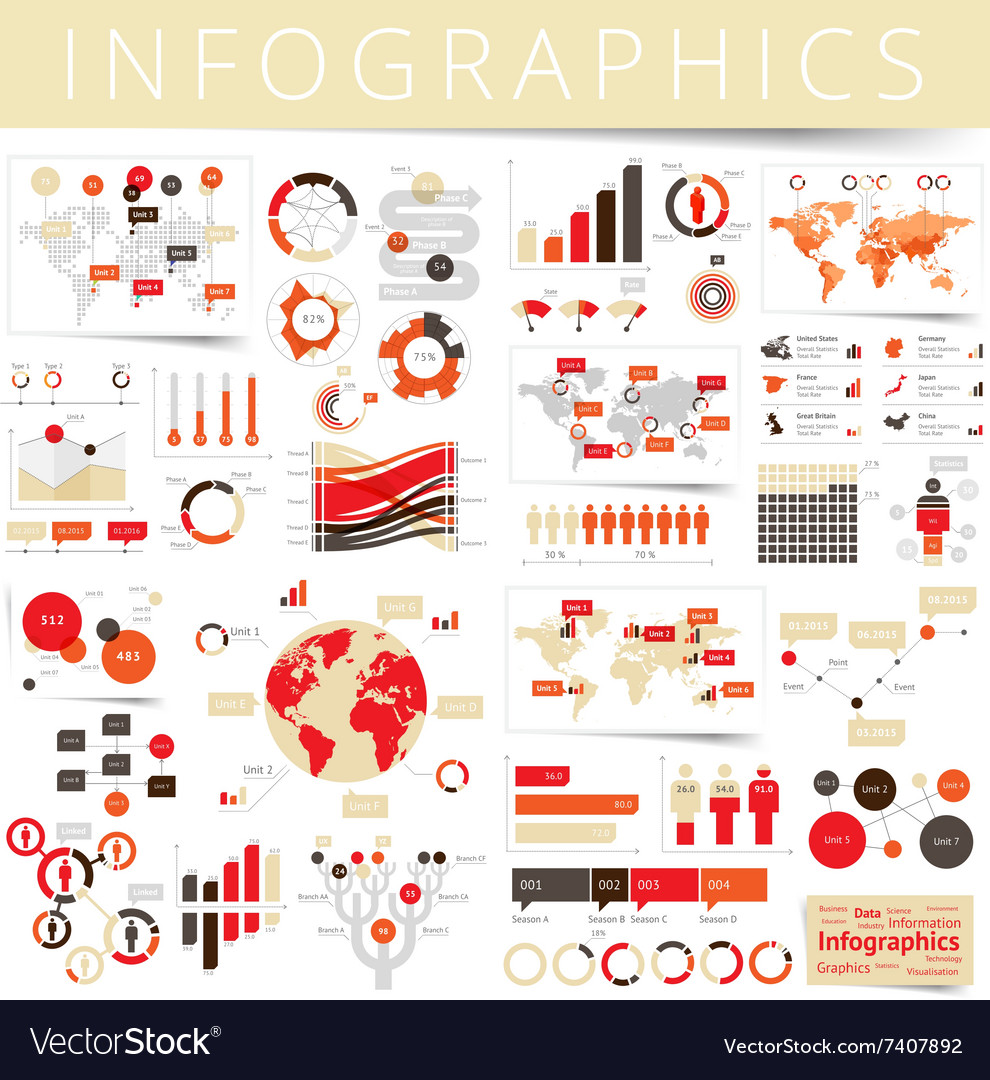 Infographics set clear red