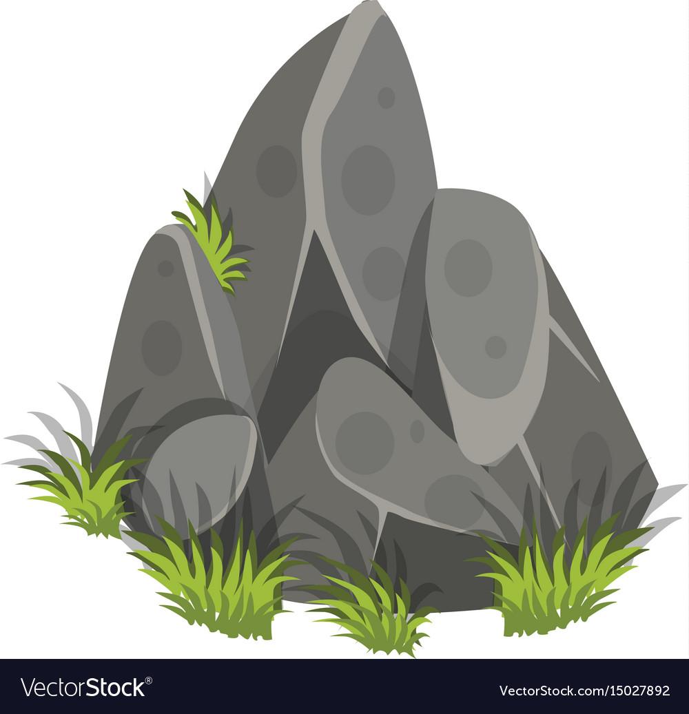 Isometric cartoon rock slab with grass - tileset vector image
