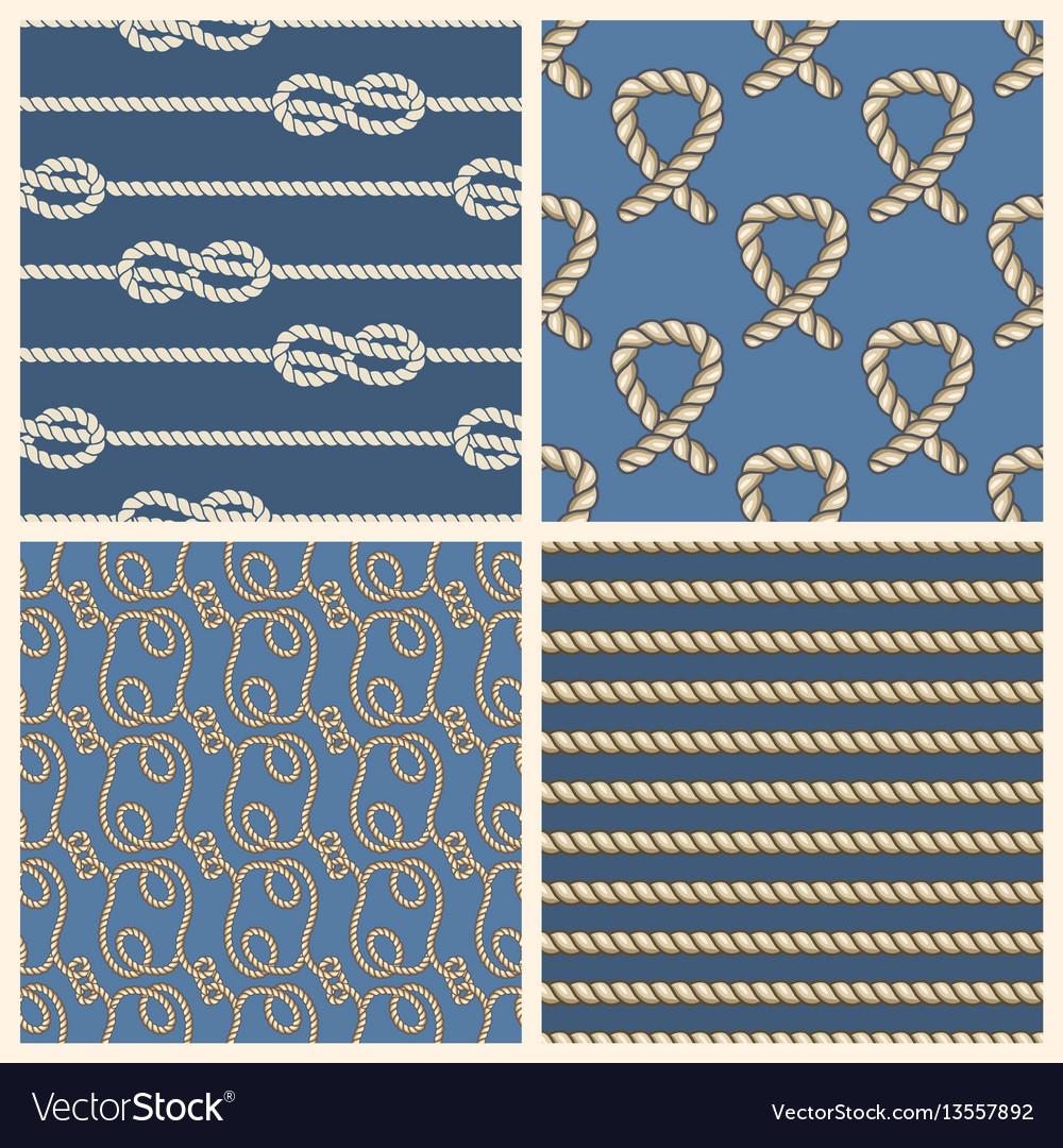Marine ropes seamless patterns set