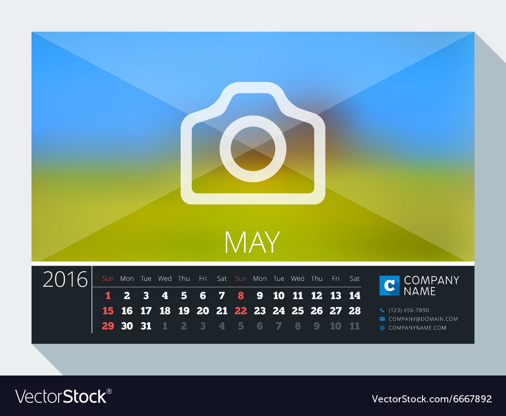 may 2016 stationery design print template desk vector image