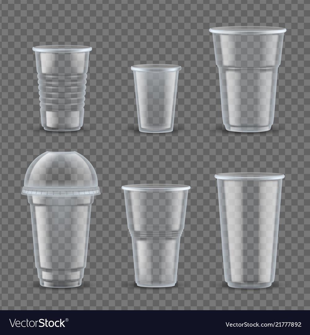 Realistic plastic cups mockup set
