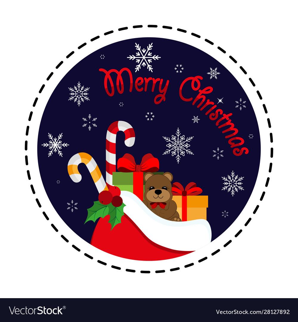 Santa claus gift bag merry christmas