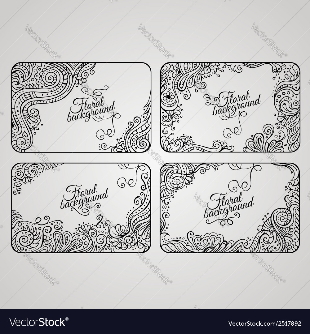 Set of four floral decorative frames