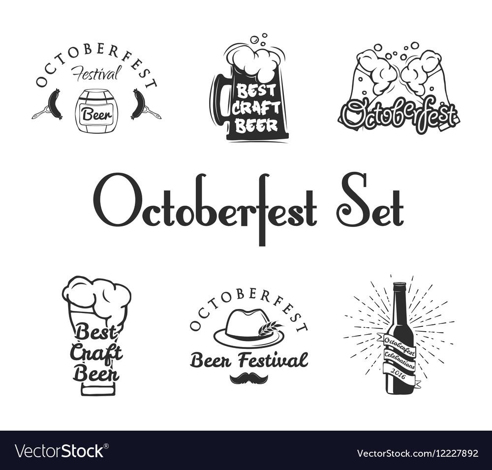 Set of Oktoberfest Labels - Beer Barrel Beer Mug