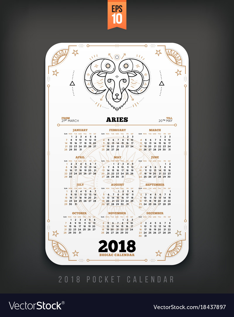 Aries 2018 year zodiac calendar pocket size vector image