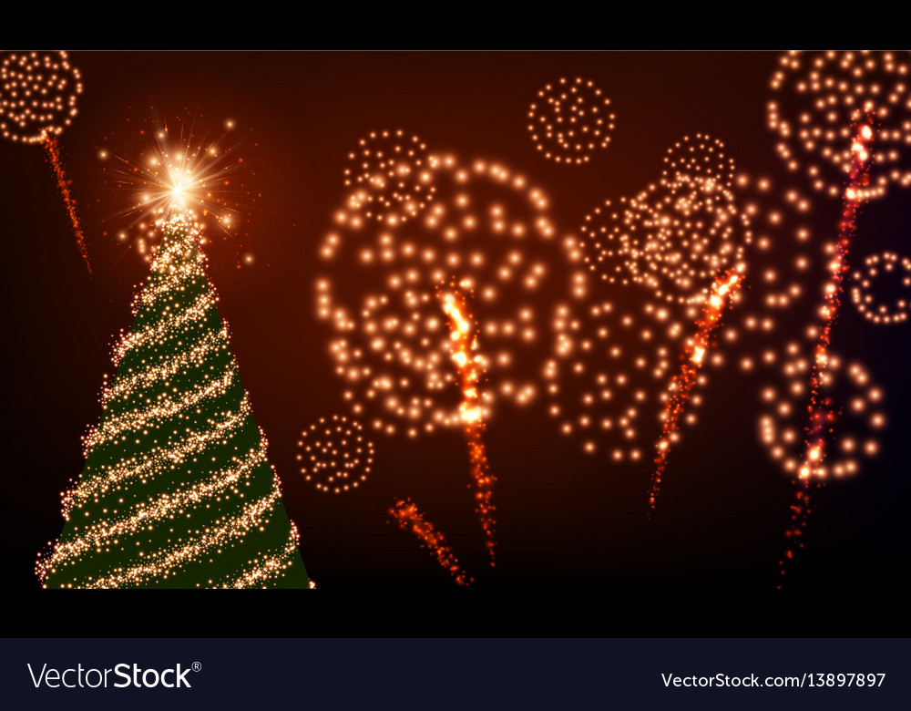 Background with christmas tree and fireworks vector image