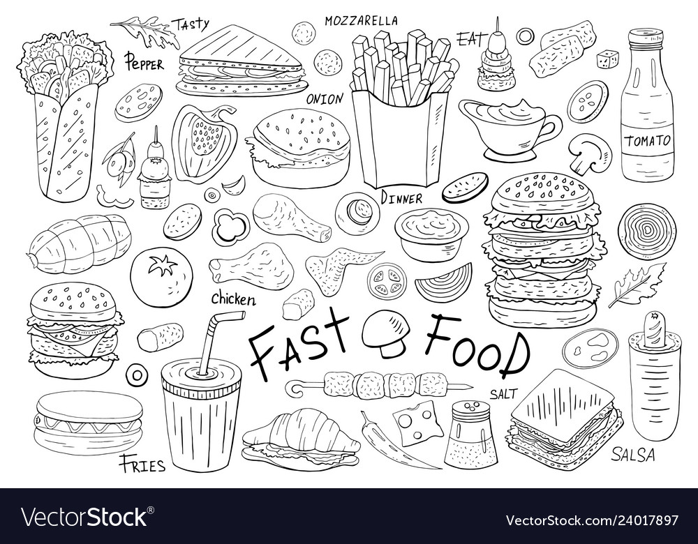 Big set fast food elements on white background