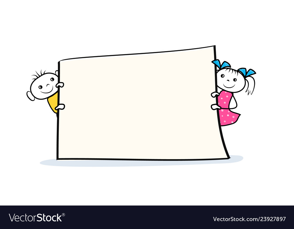 Cartoon boy and girl characters holding placard