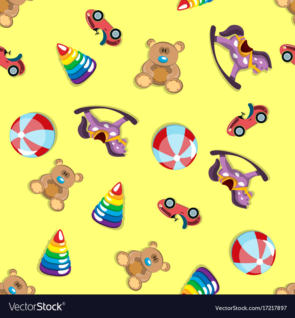 Children s toys seamless pattern vector image