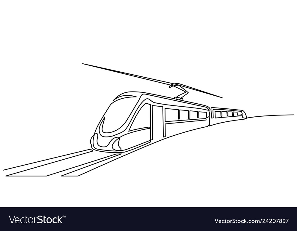 Continuous one line drawing modern passenger train