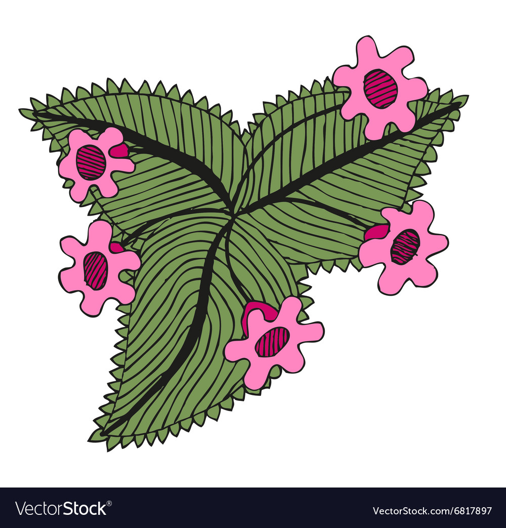 Doodling hand drawn amazing flowers like gloxinia