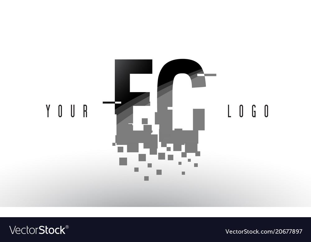 Ec e c pixel letter logo with digital shattered