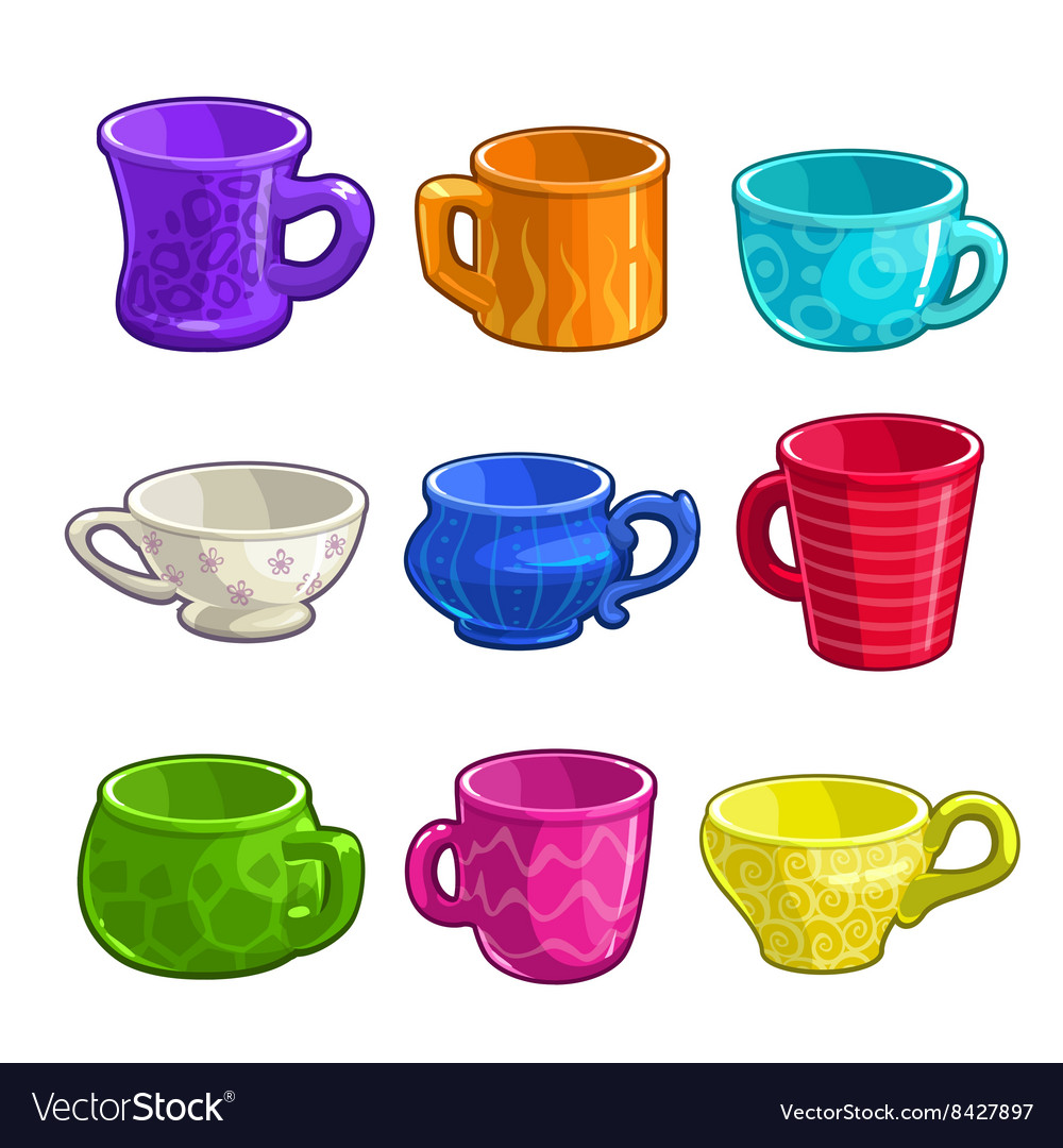 Funny cartoon colorful tea and coffee cups