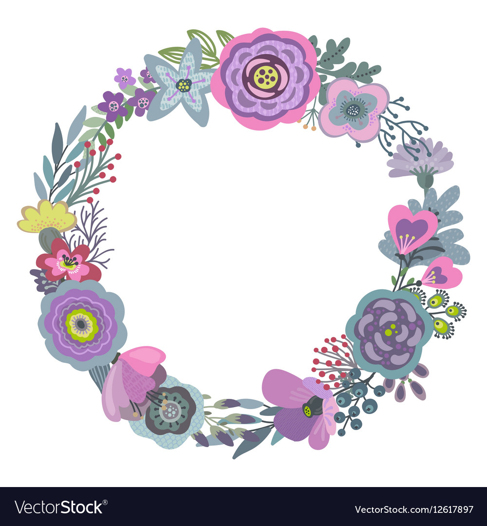 Graphic beautiful floral wreath