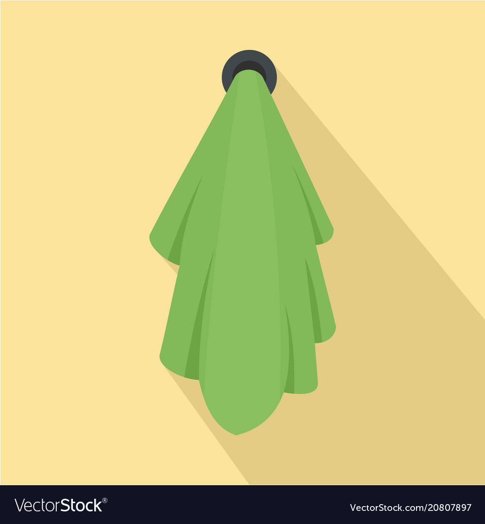 Green towel icon flat style