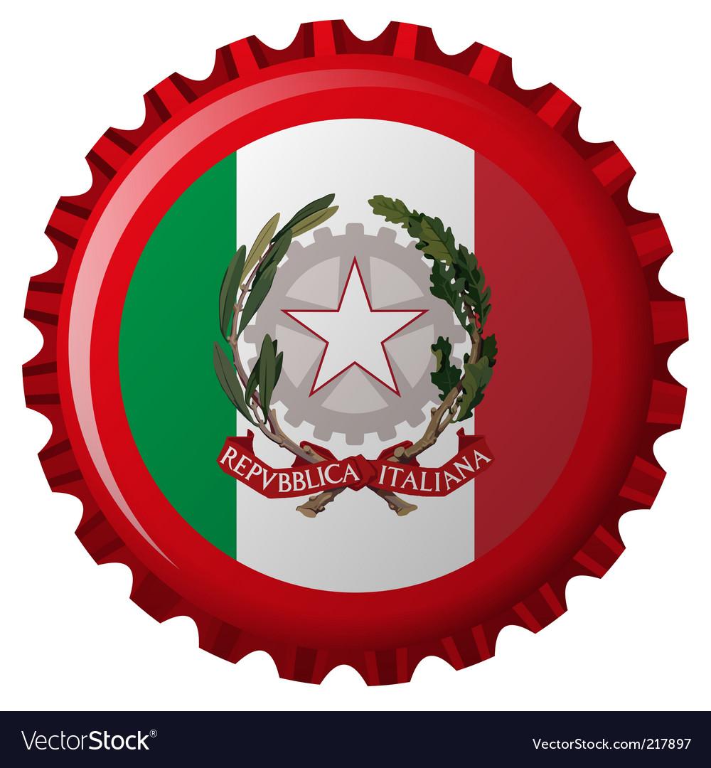 Italy bottle cap vector image