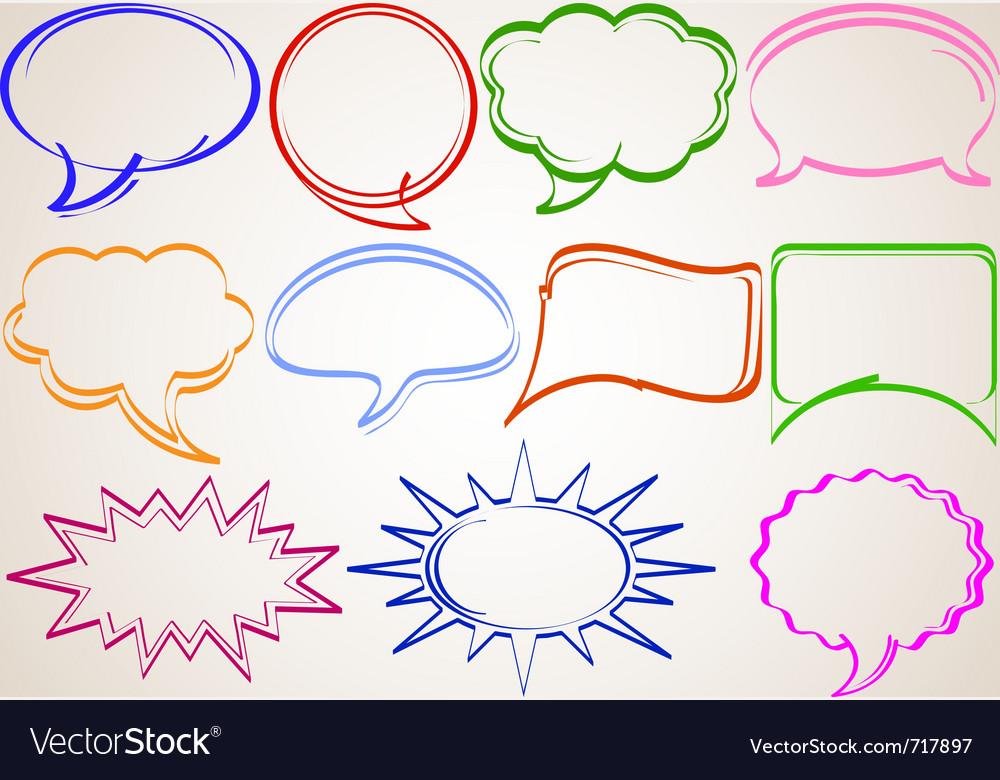 Multicolor hand-drawn talking bubbles comic book s