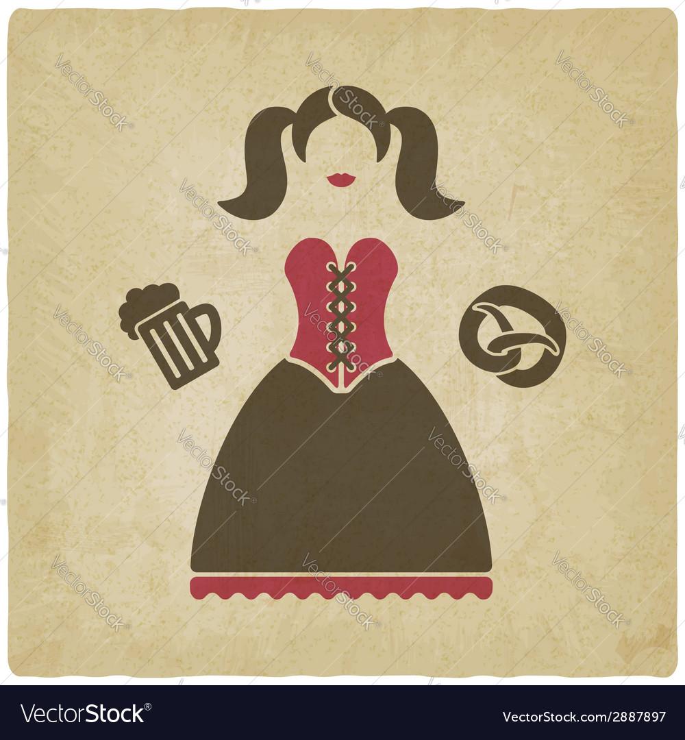 Oktoberfest girl with beer mug and pretzel