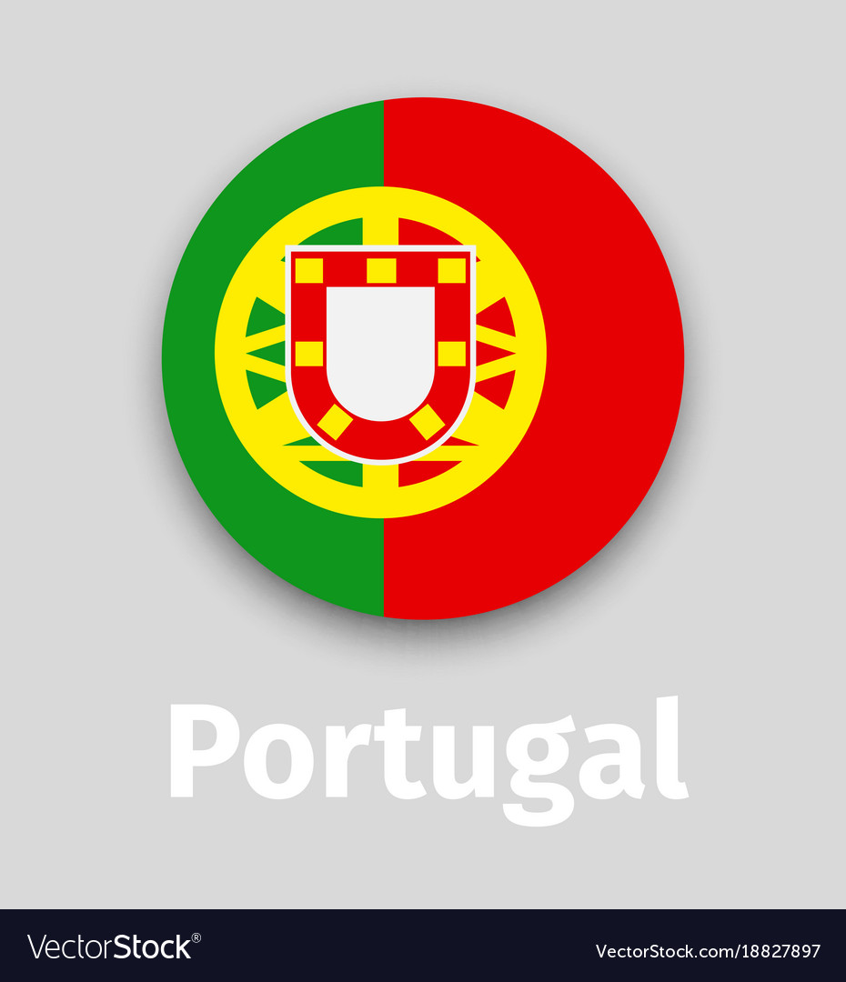 9b342ada3315 Portugal flag round icon with shadow Royalty Free Vector
