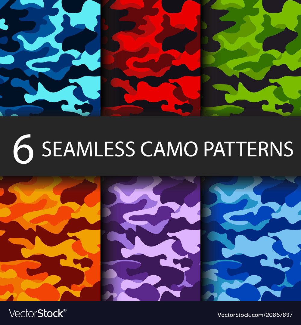 Set of 6 pack camouflage seamless patterns