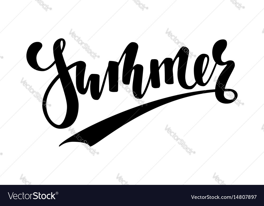 Summer hand drawn calligraphy and brush pen vector image