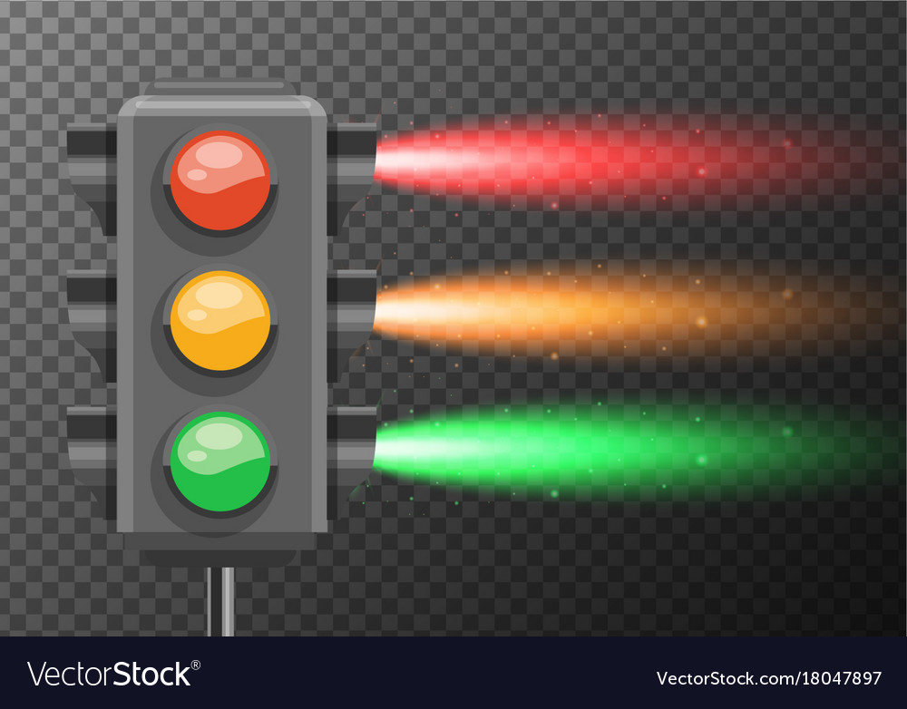 Traffic lights with bright light glowing vector image