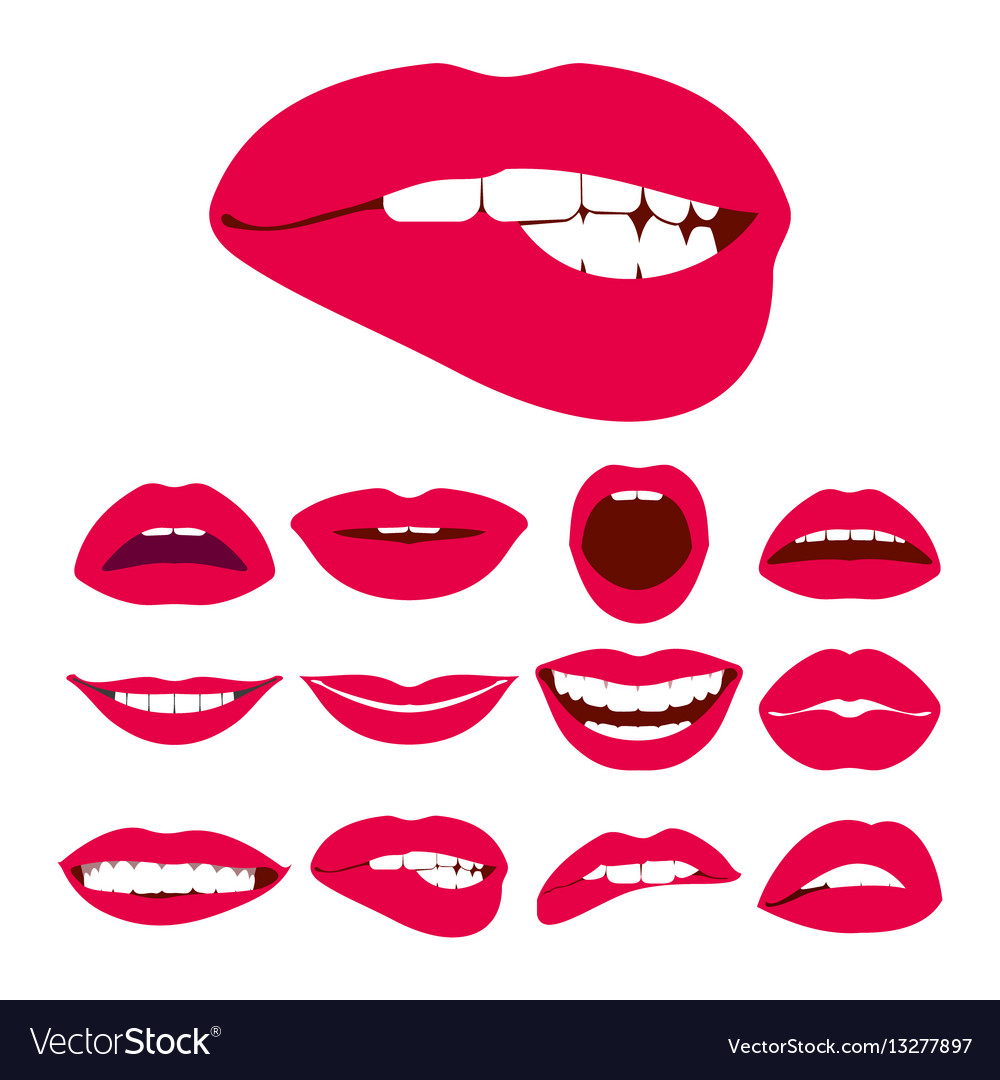 Woman lips expression icons set
