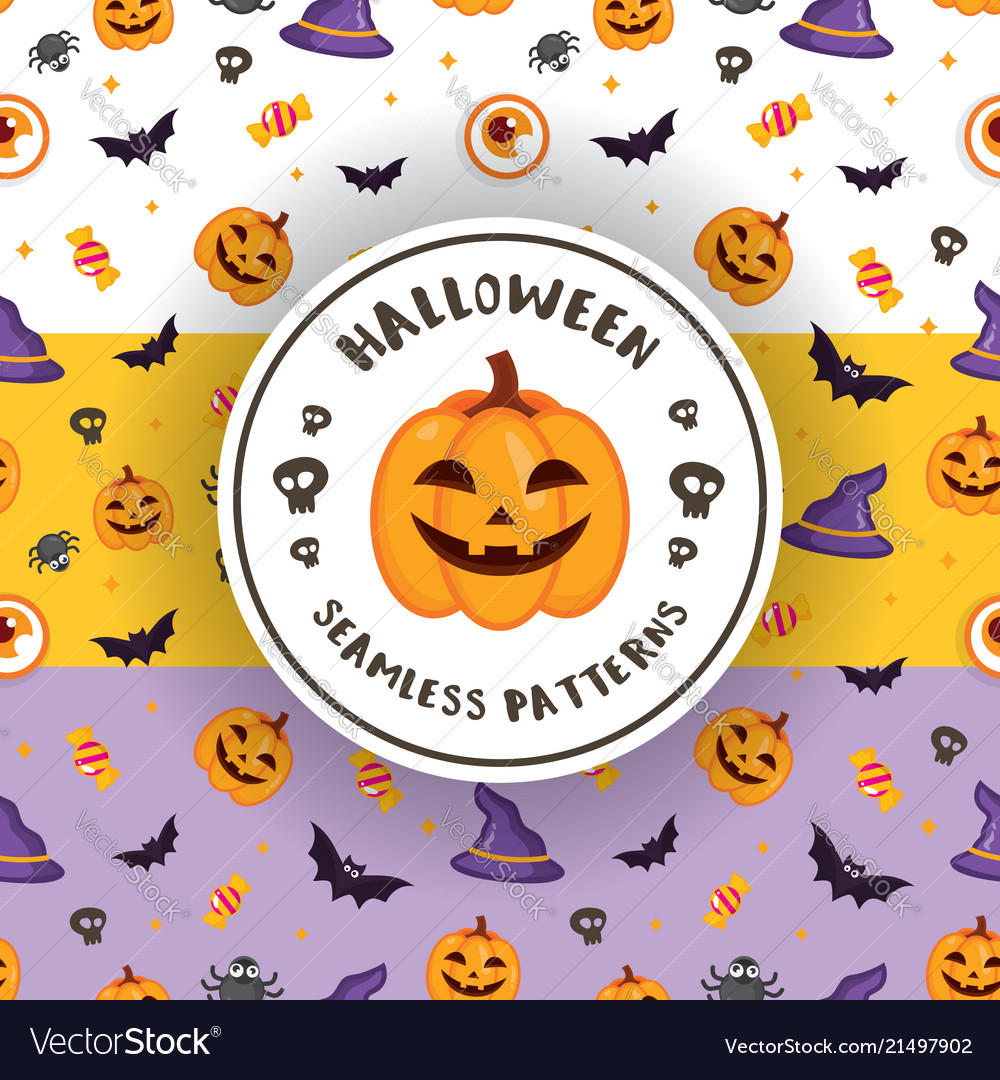 3 colors of halloween patterns